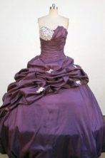Exquisite Ball Gown Strapless Floor-Length Purple Applqiues and Beading Quinceanera Dresses Style FA-S-330