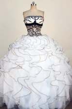 Exquisite Ball Gown Strapless Floor-Length White Appliques Quinceanera Dresses Style FA-S-294