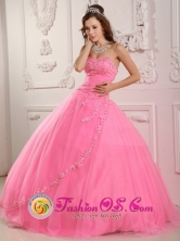 Fabulous Rose Pink For Classical Sweet 16 Quinceaners Dress With Appliques Decorated In Puerto Cortes Honduras  Style QDZY148FOR