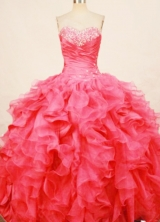 Fasshionable ball gown sweetheart-neck floor-length organza beading coral red quinceaenra dresses FA-X-182