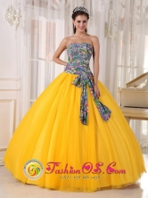For Formal Evening Golden Yellow and Printing Quinceanera Dress Bowknot Tulle Ball Gown In Nacaome Honduras Wholesale Style PDZY713FOR