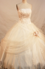 Formal Ball Gown Strapless Neck Floor-Length Champagne Quinceanera Dresses Style FA-Y-122
