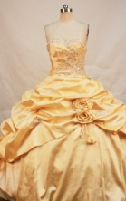 Formal Ball Gown Sweetheart Neck Floor-Length Taffeta Yellow Quinceanera Dresses Style FA-Y-121