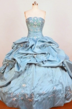 Gorgeous Ball Gown Strapless Floor-Length Blue Appliques and Beading Quinceanera Dresses Style FA-S-366