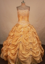 Gorgeous Ball Gown Strapless Floor-length Quinceanera Dresses Appliques with Beading Style FA-Z-0233