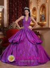 Halter Top Remarkable Eggplant Purple Pick-ups Brand New Quinceanera Gowns With Taffeta Appliques for Prom In La Ceiba Honduras Style QDZY633FOR