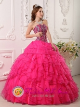 Hot Pink Quinceanera Dress For 2013 Villanueva Honduras Sweetheart Organza With Beading Ruffled Ball Gown Wholesale Style QDZY030FOR