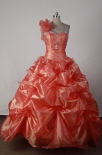 Lovely Ball Gown One Shoulder Floor-length Orange Red Quincenera Dresses TD260013