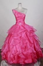 Luxurious Ball Gown One Shoulder Floor-length Hot Pink Quinceanera Dress LZ426075