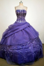 Luxurious Ball Gown Strapless Floor-Length Purple Beading and Appliques Quinceanera Dresses Style FA-S-248