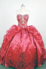 Luxurious Ball Gown Strapless Floor-Length Red Beading and Appliques Quinceanera Dresses Style FA-S-247