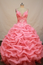 Luxurious Ball gown Straps Floor-length Organza Pink Quinceanera Dresses Appliques Style FA-Y-0087