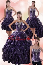 Luxurious Sweetheart Ball Gown Purple Quince Dresses with Embroidery XFNAO020TZA2FOR