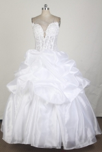 Luxuriously Ball Gown Strapless Floor-length White Quinceanera Dress X0426087