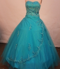 Modest ball gown sweetheart-neck floor-length net appliques teal quinceanera dresses FA-X-108