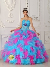 Multi-color Strapless Appliques Decorate 2013 Tegucigalpa Honduras Quinceanera Dress With ruffles  Style QDZY464FOR