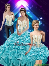 New Style 2015 Fall Hand Made Flowers and Beaded Quinceanera Dresses with Pick Ups SJQDDT41001FOR