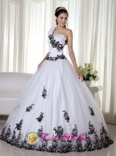 One Shoulder White Embroidery Decorate Floor-length Taffeta and Organza For 2013 Arroyo Puerto Rico Quinceanera Dress in Spring  Wholesale Style ZY734FOR