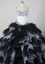 Perfect Ball Gown Sweetheart Neck Floor-Length Black Beading Quinceanera Dresses Style FA-S-404