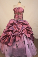Perfect ball gown strapless floor-length taffeta appliques purple quinceanera dresses FA-X-098