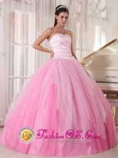 Pink Sweetheart Taffeta and tulle Quinceanera Dress with beadings Ball Gown In Florencio Varela Argentina Style PDZY486FOR