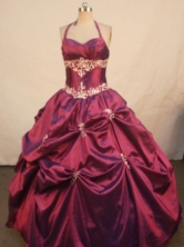 Popular Ball Gown Halter Top Floor-length Quinceanera Dresses Appliques Style FA-Z-0303