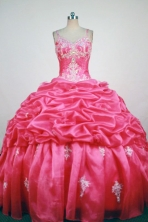 Popular Ball Gown Straps Floor-Length  Red Appliques and Beading Quinceanera Dresses Style FA-S-370