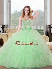 Remarkable Beading and Ruffles Sweetheart 15 Quinceanera Dresses in Apple Green QDDTA68002FOR