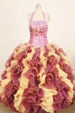 Romantic ball gown halter top floor-length organza appliques multi colors quinceanera dresses FA-X-168