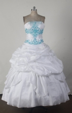 Simple Ball Gown Strapless Floor-length White Quincenera Dresses TD260044