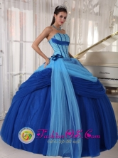 Strapless Blue ruched Quinceanera Dress ForSweet 16 In Tulle Beading Ball Gown In San Lorenzo Honduras  Style PDZY505FOR