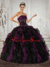 Strapless Multi Color Quinceanera Dress with Ruffles and Embroidery QDZY027TZFXFOR