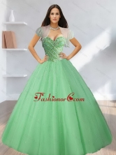 Sweetheart Beading Tulle 15 Quinceanera Dresses in Light Green SJQDDT12002-1FOR
