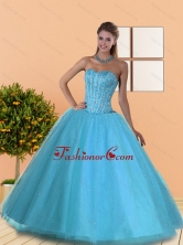 The Most Popular Beading Sweetheart Blue 15 Quinceanera Dresses QDDTD30002FOR