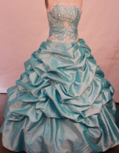 The super hot ball gown strapless floor-length taffeta beading aqua blue quinceanera dresses FA-X-07