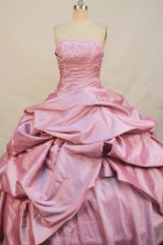 Wonderful Ball gown Strapless Floor-length Taffeta Pink Quinceanera Dresses Appliques with Beading Style FA-Y-0048