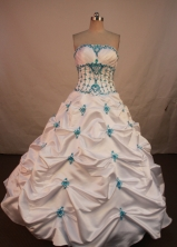 Wonderful Ball Gown Strapless Floor-length Quinceanera Dresses Appliques with Beading Style X0424114