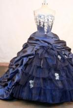 Wonderful ball gown sweetheart-neck chapel taffeta navy blue quinceanera dresses FA-X-148
