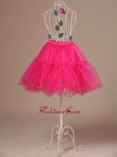 Perfect Hot Pink Organza Mini Length Girls Petticoat ACP019FOR