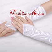 Attractive Satin Fingerless Elbow Length Bridal Gloves With Hand Made Flower ACCGL09FOR