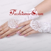 Gorgeous Satin Fingerless Wrist Length Bridal Gloves With Appliques ACCGL05FOR