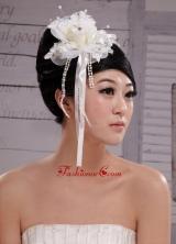2013 Headpieces Girl White Pearl Flower Bud Silk Hair Hoop XTH049FOR