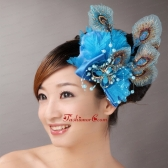 2013 Peacock Blue Feathers Headpieces Beading For Party TH038FOR
