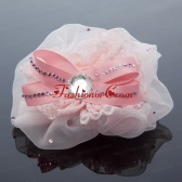 2014 Lace and Tulle Pink Hair Ornament with Rhinestone ACCHP074FOR