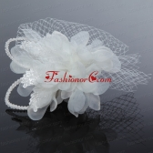 2014 Romantic Feather Pearl Tulle White Fascinators ACCHP035FOR
