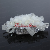 2014 Simple White Tulle Imitation Pearls Hair Combs ACCHP045FOR