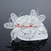 2014 White Cheap Lace Hair Flowers with Rhinestone ACCHP042FOR