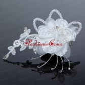 2014 White Pearl Lace and Feather Tulle Fascinators ACCHP051FOR