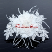 2014 White Pearl Lace and Feather Wedding Hair Flowers ACCHP050FOR