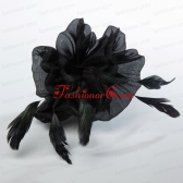 Affrodable Black Organza Fascinators with Feather ACCHP077FOR